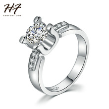 Sliver Color AAA+ CZ Crystal 4 Prong Bijoux Fashion Wedding & Engagement Ring Jewelry For Women As Aniversary Gift R588