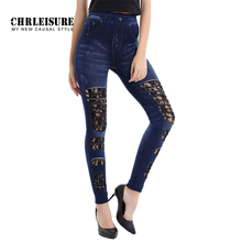 CHRLEISURE Fashion Lace Jeans Full Length Denim Pant Trousers Women New Style Retro Hollow Stretch Jeans Leggings Match All Size
