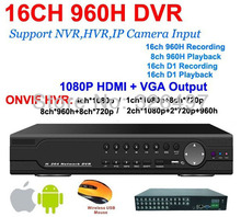 CCTV Security 16CH Full D1 960H Real Time Playback DVR 1080P HDMI Output 16CH Hybrid DVR NVR HVR Onvif Video Recorder Recorder(China)