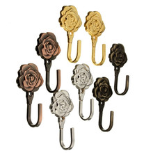 New One Pair Rose Pattern Metal Curtain Hooks Wall Decorative Hookbacks Tiebacks   Sale