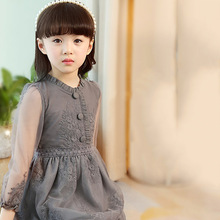 2017 Spring Girl Thin Lace Princess Dress Kids Cotton Mesh Dresses Girls Dress For Party Wedding Dress 2-14Y Children Clothes(China)