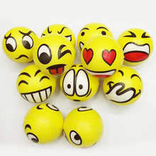 2pcs/lot New arrival Smiley Face Massage Relaxation Ball Squeeze Relief Hand Anti Stress Reliever Ball Mood Toy MR055(China)