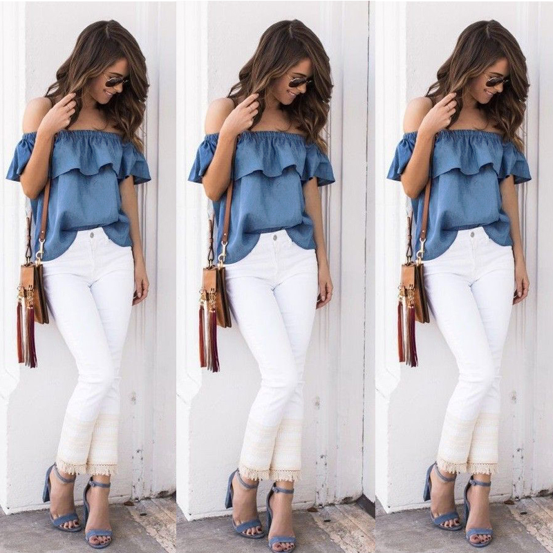 New Fashion Women Lady Shoulder Denim Blouses Shirts Summer Casual Solid Loose Denim Blouses Hot Sales