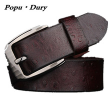 Popu`Dury 2017 New Arrival High Quality Mens Belts 100% Pure Ostrich Leather Belts Mens Pin Buckle Luxury Straps Ceinture Femmes(China)