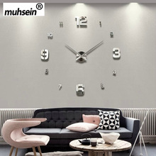 2017muhsein Full Black Wall Clock Modern Design Home Decoration Big Mirror 3D DIY Large Decorative Wall Clocks Watch Unique Gift(China)