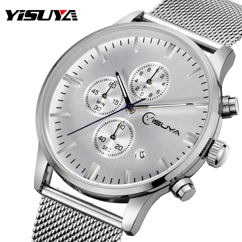 Stainless Steel Mesh YISUYA Mens Date Fashion Luxury Business Dress Formal Quartz Chronograph Wrist Watch Silver Gift<br><br>Aliexpress