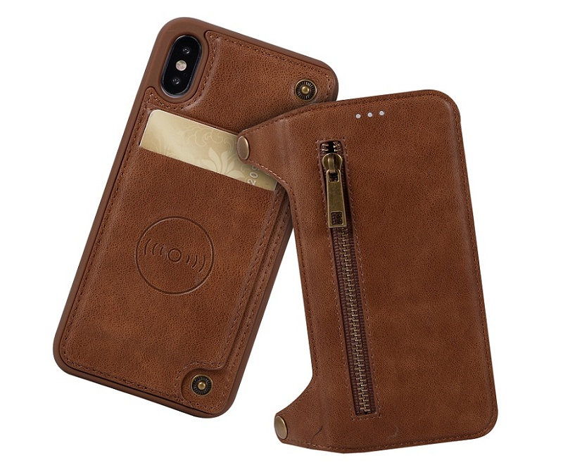 genuine leather flip case for iPhone x luxury vintage card cover