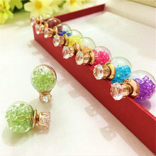 2fashion brand jewelry glass Flowers Crystal stud earring double imitation pearl side Summer style Daisy earring for women8ED234(China)