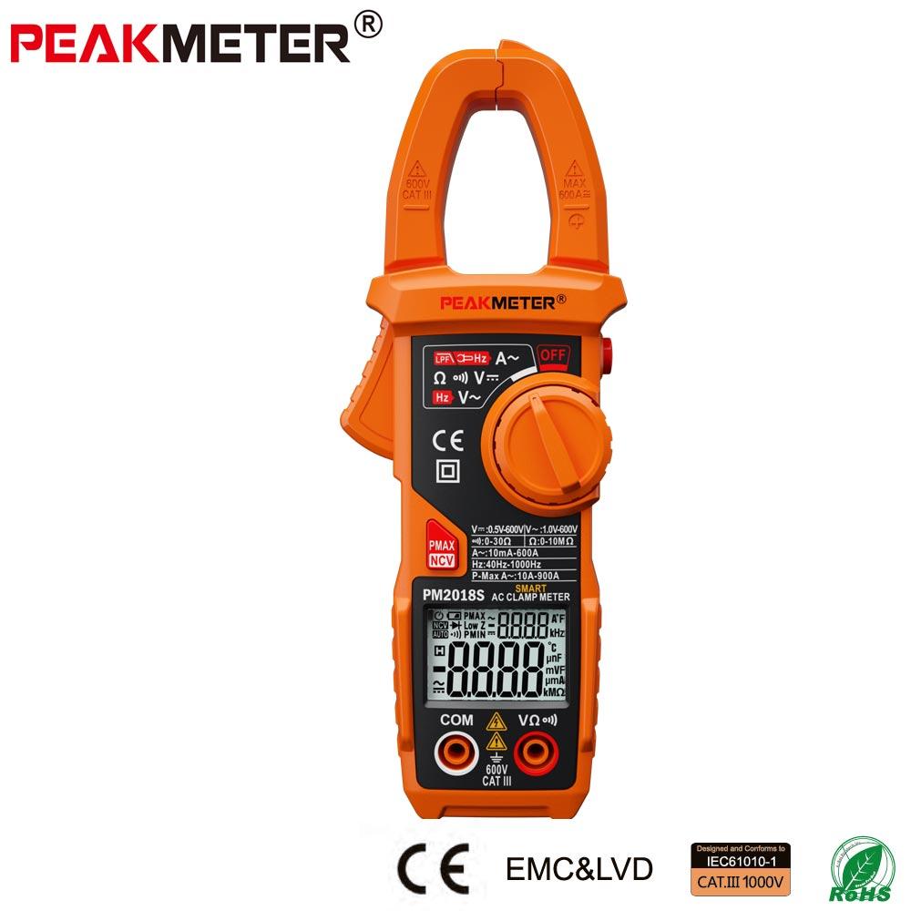 Official PEAKMETER Portable Smart AC Digital Clamp Meter Multimeter AC Current Voltage Resistance Continuity Measurement Tester <br>