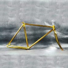 Retro Gold plating bicycle frame Fixed Gear Bike overgild steel frame fork 700c 48cm 52cm bicycle frame