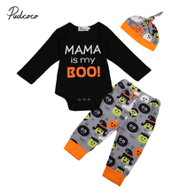 Halloween Long Sleeve Newborn Kid Baby Boy Girl Clothes MAMA is my boo Romper Jumpsuit +Long Pants +Cap Outfits Set I(China)