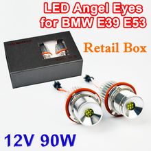 1 Set 2*45W 90W Chip LED Marker Angel Eyes Retail Box 7000K XENON White for E39 E53 E60 E61 E63 E64 E65 E87 FREE SHIPPING