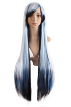 Charming (Black White Blue) 100cm Straight Ladies Cosplay Wigs