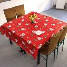 New Design Christmas Santa Claus Tablecloth White/Red Festivals Household Decoration