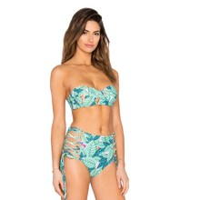 Women High Waist Swimsuit Push Up Bikini Halter Hollow Bathing Suit 2017 Summer Leaf Prints Bikini Set Bandeau Swimwear 4 Styles(China)