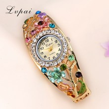 Buy Lvpai Brand 2017 Fashion Flower Bracelet Watches Luxury Women Crystal Quartz Wristwatch Gemstone Casual Sport Watches XR1757 for $2.99 in AliExpress store