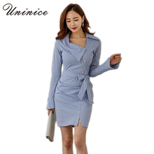 2017 Blue Striped Dress Women's Clothing Plus Size OL Casual Slim Long Sleeve Dress Designer Mini Sheath Dress Female Brand Hot