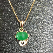 Real Qi Xuan_Fashion Jewelry_Colombian Green Stone Kitten Necklaces_Rose Gold Color Pendant Necklaces_Factory Directly Sales