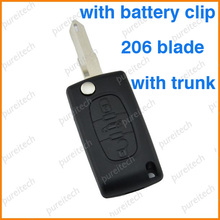 10pieces/lot car flip key case 3 buttons with battery place for car 206 Peugeot key blanks CE0536