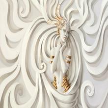 European style 3D relief beauty murals TV background bedroom wallpaper mural