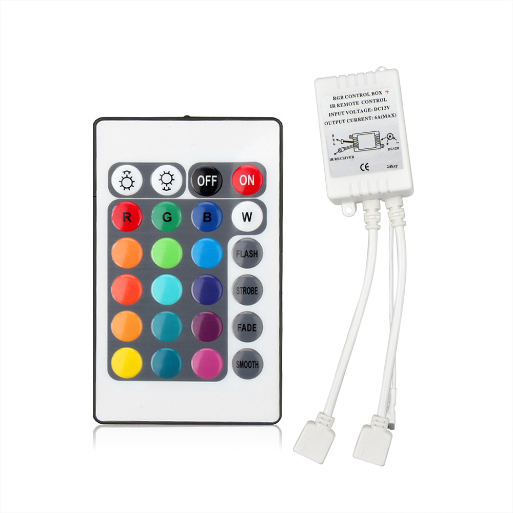 1Pcs LED Controller 24 Keys IR Remote RGB Controller DC12V 6A For 5050 3528 SMD RGB LED Strip light Dimming(China)