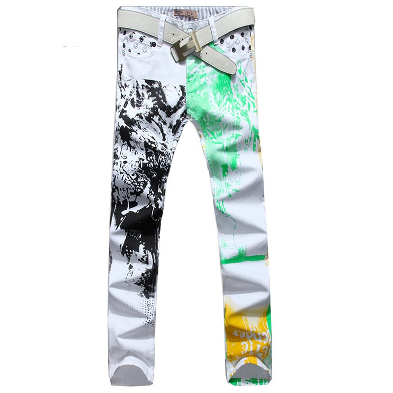 Hot Sale!2016 Pattern Printed Jeans for Men Skinny Straight Jeans Trousers Men Plus Size 28-36 Biker Motorcycle Pants 110Одежда и ак�е��уары<br><br><br>Aliexpress
