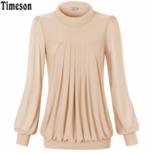 Timeson 2017 Women Top and Blouses New Turtleneck Neck Wine Red Blouse Ladies Casual Flare Shirt Top Lantern Sleeve Blouse Femme