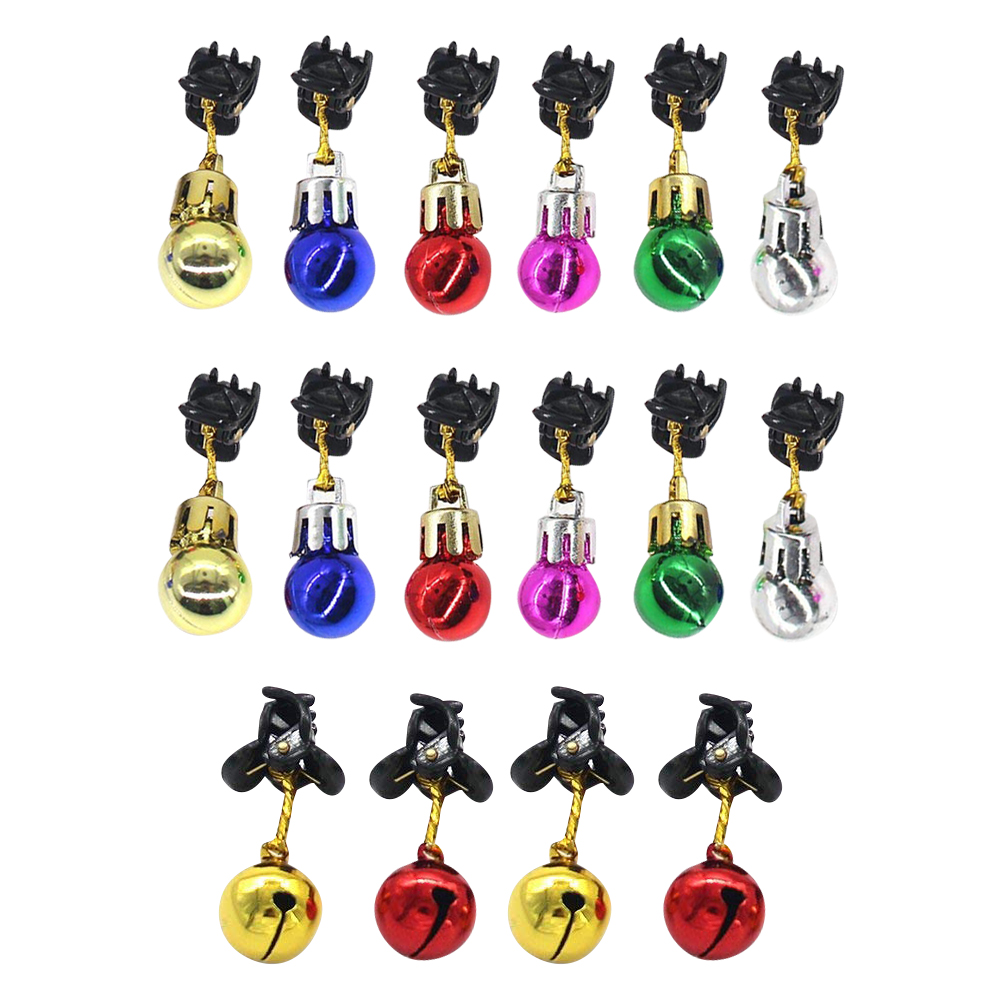 12pcs Christmas Jingle Bells Red Green Key Chain Ring X-Mas Holiday Gift Lots