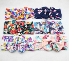 100pcs Bebes Floral Top Bow  Knot Headband for Girls Hair Accessories Fashion Kids Cotton Turban Headband Girl Flower Headwrap