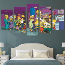 HD Printed Cartoon simpsons 5 piece Group Painting room decor print poster picture canvas Free shipping/ny-1363