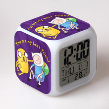 Adventure Time Anime Figurines LED Alarm Clock Color Changing Touch light Jake and Finn Cartoon Figure Toys