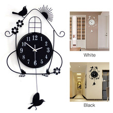 Creative Swing Hanging Bird Durable Electronic Wall Clock Large Wall Arts And Crafts Modern Design Wall Clock T20