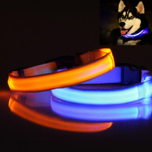 Pet Dog Collar LED Polyester Night Safety Dogs Cats Collar Color Luminous  In The Dark Light-Up with CR2016 Battery 160310-12