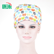 Adjustable Pure Cotton Printing Hospital Medical Caps Scrub Surgical Caps for Long Hair Doctor Nurse Beauty Salon Clinic Cap E82(China)
