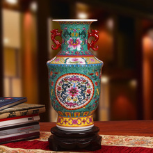 Jingdezhen ceramic vase enamel vase modern Home Furnishing Fu pan green ears decoration decoration(China)