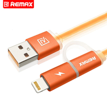 Remax Aurora Dual Heads iOS Micro USB Mobile Phone Cable Data Cable Charge Cable With Light Indicator Fast Charge Cable 1M