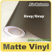 Wholesale 1.52*30m Grey Matte Vinyl Wrap Anthracite With Air Bubble Free Dark Gray Matt Film Vehicle Wrapping(China)