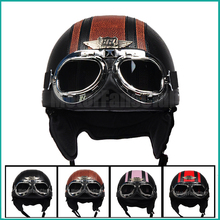 Leather Retro Motorcycle Open Face Half Helmet Offroad Motocross Bike Bicycle For Cruiser Harley Goggles Black Brown Pink Red