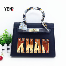 YENS Ladies' Fashion Brand Name Bags Personal Custom Name Bag Unique Letter Name Tote Designer Handbag Customized Messenger Bag(China)