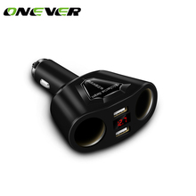 3.1A Dual USB Car Charger with 2 Cigarette Lighter Sockets 120W Power Support Display Current Volmeter for iPhone iPad Samsung
