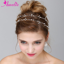 Handmade Boho Delicate Crystal Wedding Bridal Headpiece Extra Long Wreath Pearl Hair Vine Girls Hair Jewelry Engagement Hairband(China)