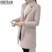 2017 Medium Long Cashmere Wool Coat Female Single Button Women's Winter Jackets And Coats Turn-Down Collar Trench Coat Pink(China)