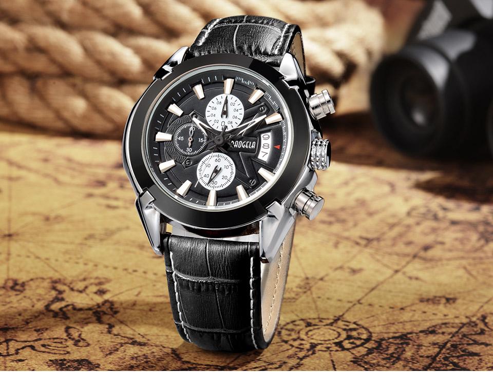 Baogela Mens Chronograph Luminous Hands Date Indicator Fashion Causal Leather Strap Sport Quartz Wrist Watches 13