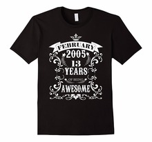 T Shirt Logo Short Crew Neck 13th Birthday Gift Awesome Born in February 2005 T-Shirt Fashion 2018 Mens Tee Shirts(China)
