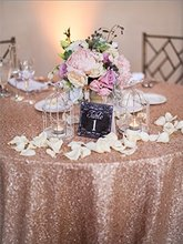 Wholesale 90''x156'' Rectangle Blush Sequin Table Cloths Fit For 8FT Table