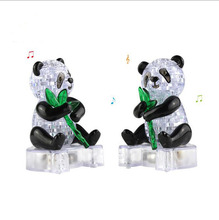 DIY 3D Jigsaw Crystal Puzzle Panda with Leaf Plastic Home Decoration Birthday Gift for Children Educational toys wifh LED