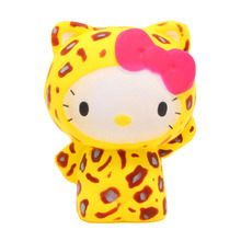 New Arrived 10CM Jumbo Leopard Hello Kitty Squishy Super Slow Rising Sweet Soft Doll Scented Phone Strap