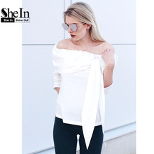 SheIn Off The Shoulder Blouses for Women Ladies Tops Women Clothing White Three Quarter Length Sleeve Tunic Top