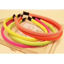 5pcs/lot Fashion Fluorescent Neon Color PU Braided Plait Bow Headband Hair Hoop Hairbands Hair Wrap
