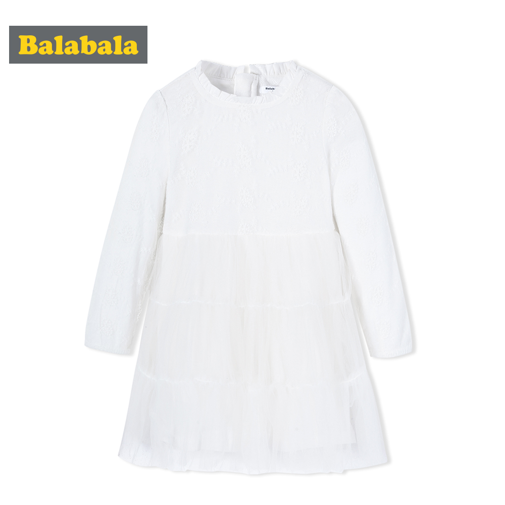 Balabala princess dresses for girls enfant kids clothing toddler lace long sleeved A-Line white dress clothes dresses for party<br>